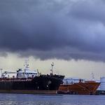 Oil Tanker Stormy Skies